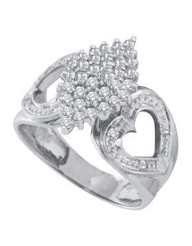 10kt White Gold Womens Round Diamond Cluster Heart Ring 1/2 Cttw