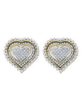10kt Yellow Gold Womens Round Diamond Framed Heart Screwback Cluster Earrings 1.00 Cttw