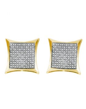 Yellow-tone Sterling Silver Womens Round Diamond Square Kite Cluster Screwback Earrings 1/3 Cttw