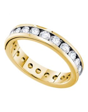 14k Yellow Gold Womens Round Diamond Bridal Wedding Anniversary Eternity Band 1-1/2 Cttw