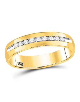 14kt Yellow Gold Mens Round Diamond Single-row Channel-set Wedding Band Ring 1/4 Cttw