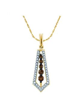 14kt Yellow Gold Womens Round Cognac-brown Color Enhanced Diamond Vertical Journey Pendant 1/2 Cttw