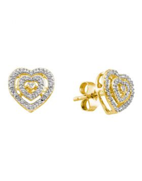 10kt Yellow Gold Womens Round Diamond Heart Cluster Earrings 1/12 Cttw