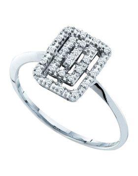 10kt White Gold Womens Round Diamond Rectangle Cluster Slender Ring 1/12 Cttw
