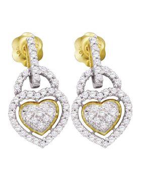 10kt Yellow Gold Womens Round Diamond Heart Frame Cluster Dangle Earrings 1/3 Cttw