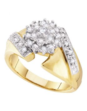 10kt Yellow Gold Womens Round Diamond Flower Cluster Ring 1/2 Cttw