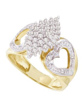 10kt Yellow Gold Womens Round Diamond Cluster Heart Ring 1/2 Cttw