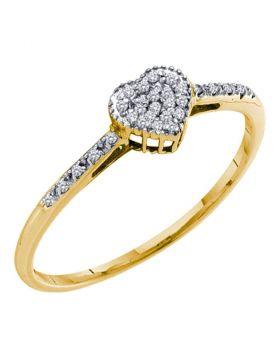10kt Yellow Gold Womens Round Diamond Slender Heart Cluster Ring 1/12 Cttw