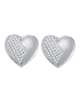 10kt White Gold Womens Round Diamond Heart Cluster Stud Earrings 1/4 Cttw