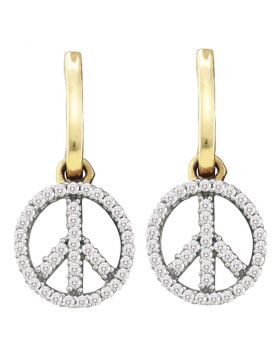 10kt Yellow Gold Womens Round Diamond Small Peace Sign Dangle Earrings 1/4 Cttw