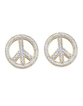 10kt Yellow Gold Womens Round Diamond Peace Sign Circle Screwback Stud Earrings 1/6 Cttw