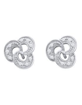 10kt White Gold Womens Round Diamond Trinity Stud Earrings 1/20 Cttw
