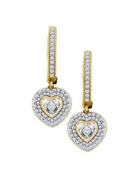 10kt Yellow Gold Womens Round Diamond Heart Dangle Earrings 3/4 Cttw