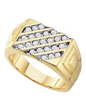 10kt Yellow Gold Mens Round Channel-set Diamond Diagonal Stripe Band Ring 1/2 Cttw