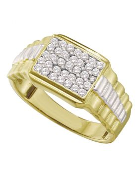 10KT YELLOW GOLD ROUND DIAMOND RECTANGLE CLUSTER RIBBED TWO-TONE RING 1/2 CTTW