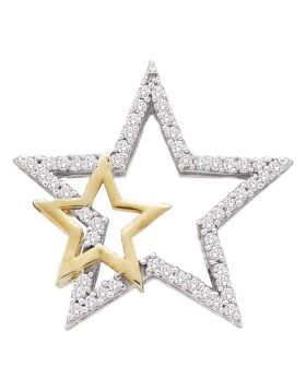 10kt White Two-tone Gold Womens Round Diamond Yellow Star Pendant 1/6 Cttw