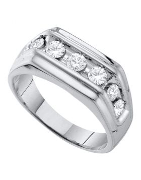 10KT WHITE GOLD ROUND DIAMOND SQUARED EDGES SINGLE ROW BAND RING 1.00 CTTW
