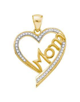 10kt Yellow Gold Womens Round Diamond Heart Mom Mother Pendant 1/8 Cttw