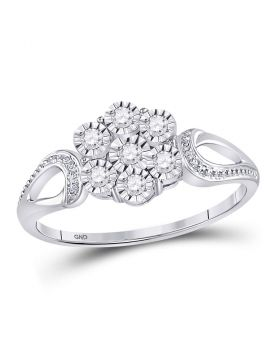 Sterling Silver Womens Round Illusion-set Diamond Flower Cluster Ring 1/8 Cttw