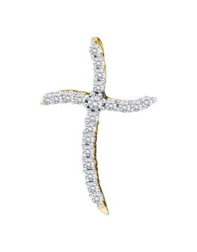 10kt Yellow Gold Womens Round Diamond Cross Pendant 1/4 Cttw