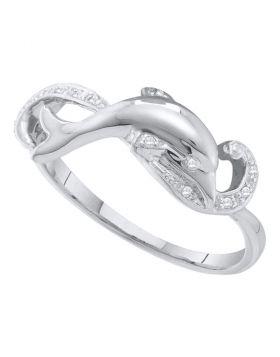 10kt White Gold Womens Round Diamond Dolphin Ring 1/20 Cttw