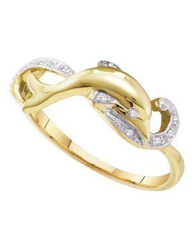 10kt Yellow Gold Womens Round Diamond Slender Dolphin Fish Animal Ring 1/20 Cttw