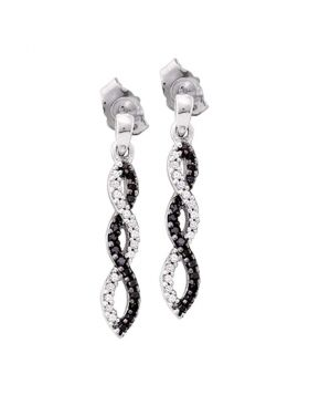 10kt White Gold Womens Round Black Color Enhanced Diamond Infinity Dangle Screwback Earrings 1/6 Cttw