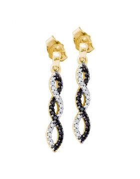10kt Yellow Gold Womens Round Black Color Enhanced Diamond Infinity Dangle Screwback Earrings 1/6 Cttw