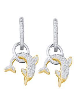 10k White Gold Round Pave-set Diamond Womens Dolphin Nautical Dangle Earrings 1/3 Cttw