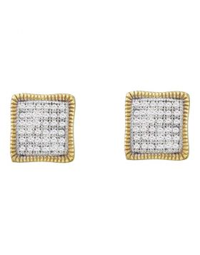 10kt Yellow Gold Womens Round Pave-set Diamond Square Cluster Milgrain Earrings 1/4 Cttw