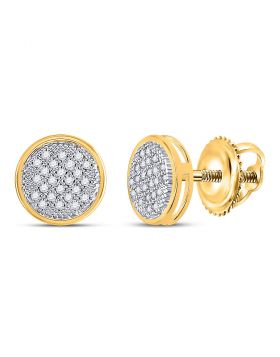 Yellow-tone Sterling Silver Womens Round Diamond Cluster Screwback Earrings 1/6 Cttw