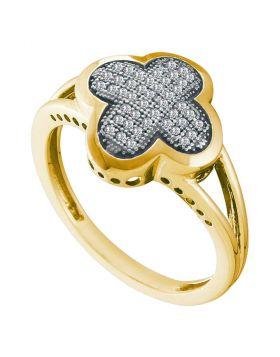 10kt Yellow Gold Womens Round Diamond Quatrefoil Cluster Ring 1/6 Cttw