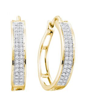 Yellow-tone Sterling Silver Womens Round Diamond Double Row Hoop Earrings 1/5 Cttw