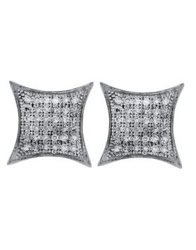 Sterling Silver Womens Round Diamond Square Kite Cluster Earrings 1/5 Cttw