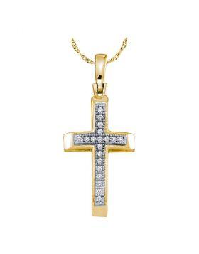 Yellow-tone Sterling Silver Womens Round Diamond Roman Cross Pendant 1/20 Cttw