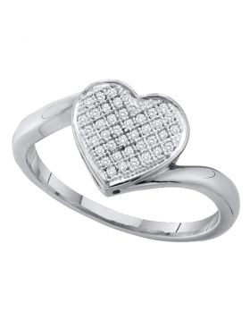 Sterling Silver Womens Round Diamond Heart Love Ring 1/10 Cttw