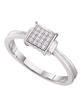 Sterling Silver Womens Round Diamond Simple Square Cluster Ring 1/20 Cttw