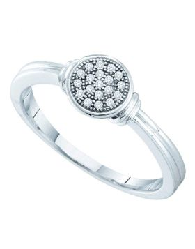 Sterling Silver Womens Round Diamond Circle Cluster Ring 1/20 Cttw