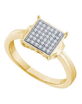 Yellow-tone Sterling Silver Womens Round Diamond Square Cluster Ring 1/10 Cttw