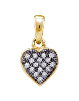 Yellow-tone Sterling Silver Womens Round Diamond Small Heart Cluster Pendant 1/20 Cttw