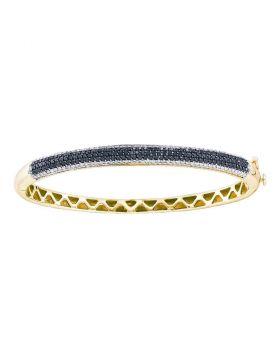 14kt Yellow Gold Womens Round Black Color Enhanced Diamond Bangle Bracelet 1-1/2 Cttw