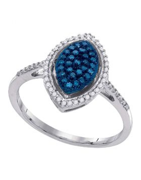10kt White Gold Womens Round Blue Color Enhanced Diamond Oval Cluster Ring 1/4 Cttw