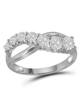 Sterling Silver Womens Round Diamond Band Ring 1/8 Cttw
