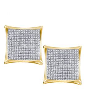 10kt Yellow Gold Womens Round Diamond Square Kite Cluster Screwback Earrings 2.00 Cttw