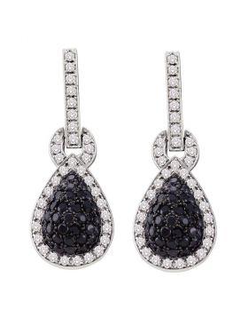 10kt White Gold Womens Round Black Color Enhanced Diamond Teardrop Dangle Earrings 1-3/4 Cttw