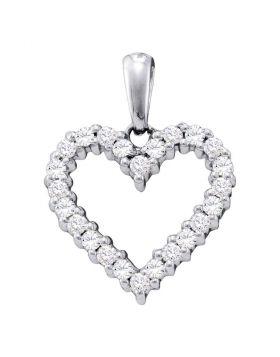 14kt White Gold Womens Round Pave-set Diamond Heart Pendant 1/3 Cttw