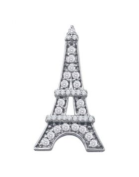 10kt White Gold Womens Round Diamond Eiffel Tower Fashion Pendant 1/3 Cttw
