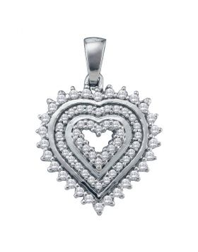 10kt White Gold Womens Round Diamond Concentric Heart Pendant 1/3 Cttw