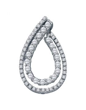 10kt White Gold Womens Round Diamond Double Teardrop Pendant 1/2 Cttw