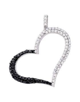10kt White Gold Womens Round Black Color Enhanced Diamond Heart Outline Pendant 3/8 Cttw
